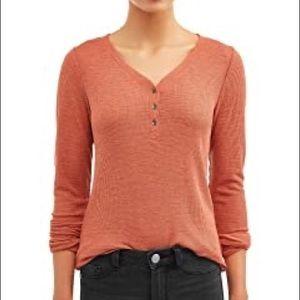 NWOT red waffle knit long sleeve